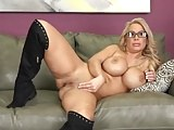 Blonde Milf with huge tits fucks on couch