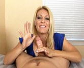 Busty mature Charlee Chase jerking cock pov for this lucky guy