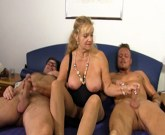 German mature with big tits gets fucked hard in threesome