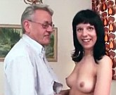 Grandpa and young girl in porn action