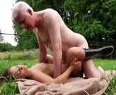 Horny old man has sex with a young girl Jenny Glam outdoors