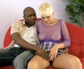 Shorthaired blonde Claudia Downs loves to get plowed