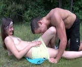 Slim young girl with small tits Aimee gets giant cock outdoors