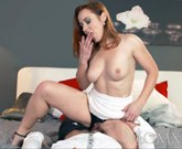 Sexy redhead sucks and fucks muscle man before hot creampie
